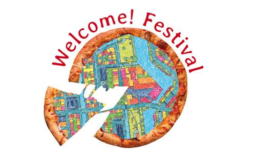 Handgetekende kaart van Leiden in de Meelfabriek tijdens 'Welcome! Festival'