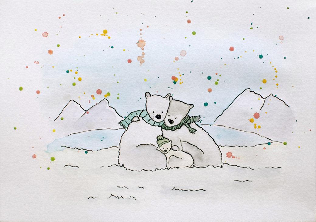 Irene-Cecile-kerst-nieuwjaars-kaart-ijsberen