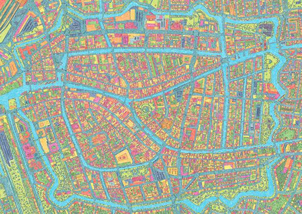 Handgetekende stadskaart van Leiden