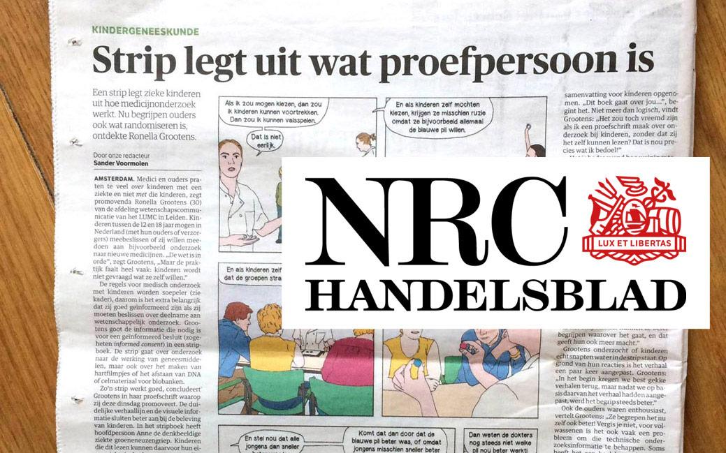 Artikel over stripverhaal over wetenschappelijk onderzoek in NRC en NRC.next