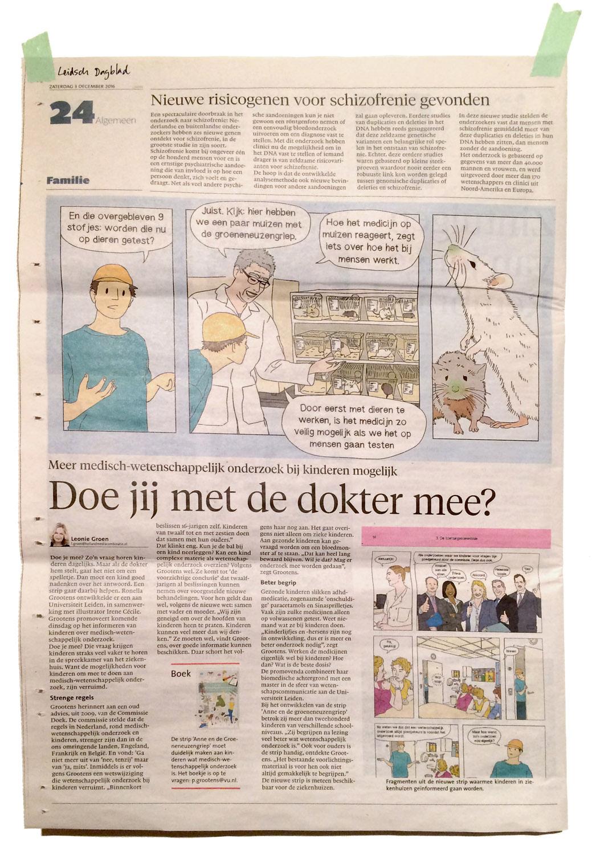 Irene-Cecile-stripverhaal-wetenschappelijk-onderzoek-Leidsch-Noordhollands-Dagblad