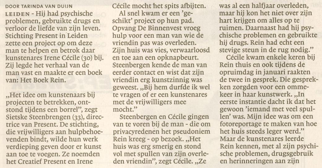 2012-12-19 Leidsch Dagblad Het boek Rein 2