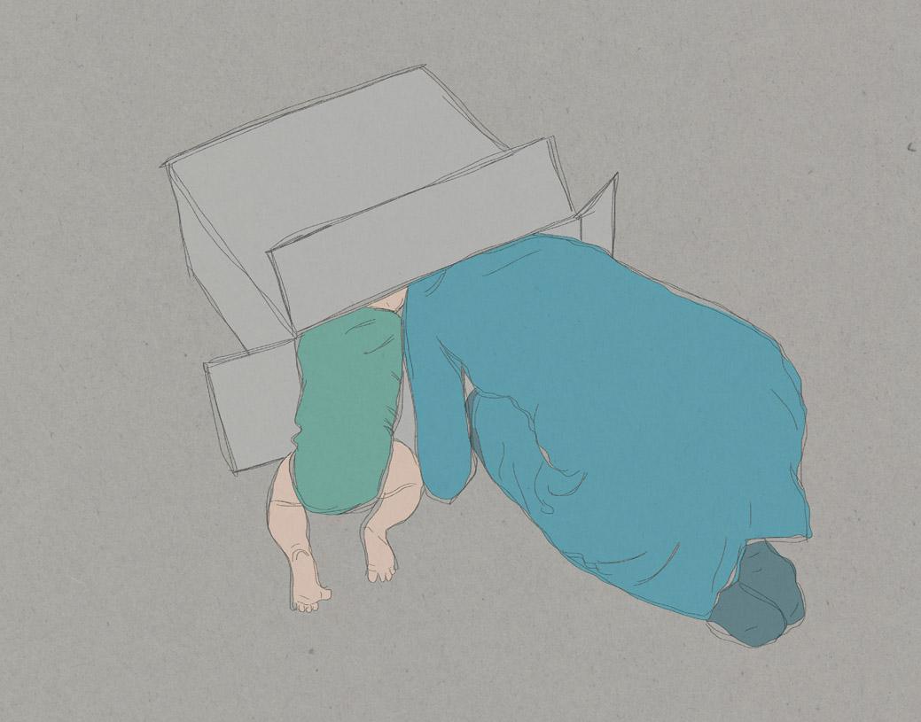 2015-12-11 Irene en Yuki in een doos