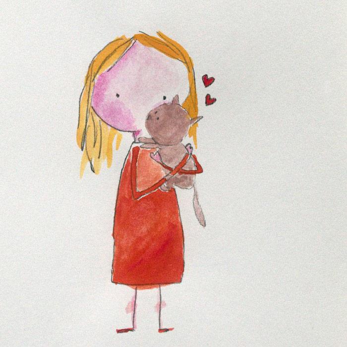 2016-01-20 irene cecile meisje poes illustratie