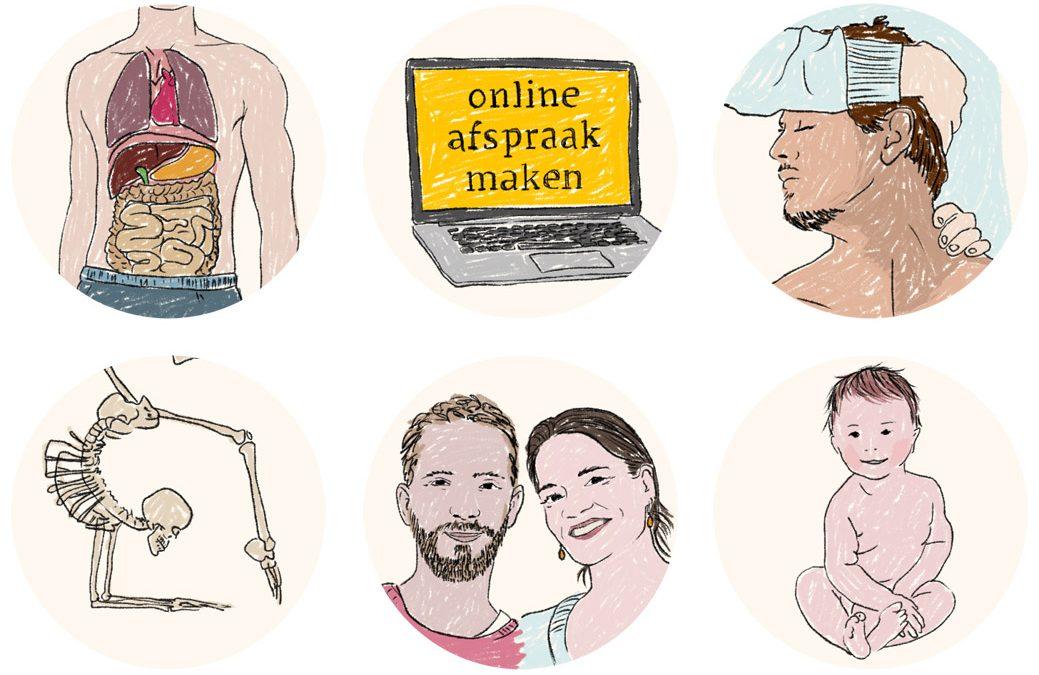 Handgetekende iconen voor website