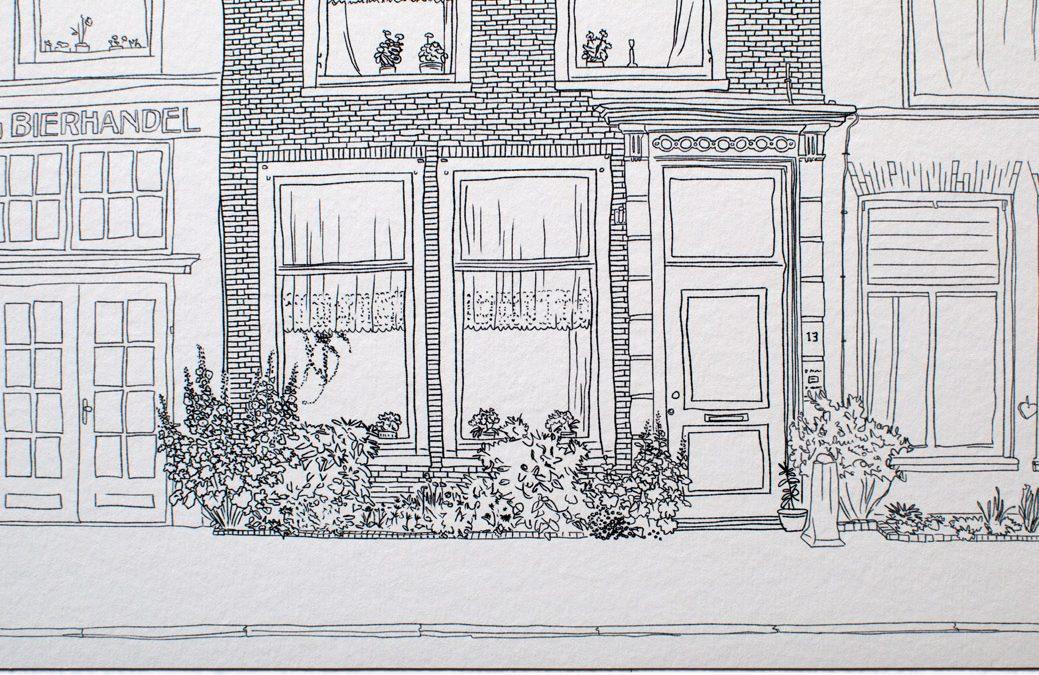 Huisportret: op maat getekende prent van een woning / pand / kantoor
